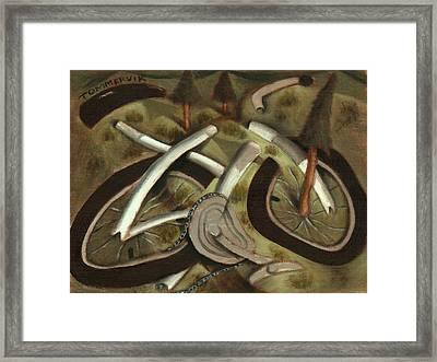 Tommervik Abstract Mountain Bike Art Print Framed Print by Tommervik