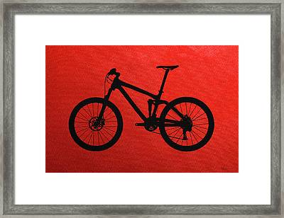 Mountain Bike Silhouette - Black On Red Canvas Framed Print