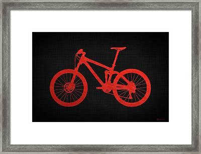 Mountain Bike Silhouette - Red On Black Canvas Framed Print