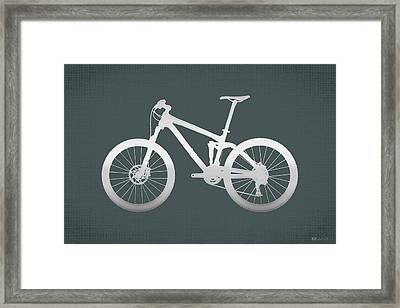 Mountain Bike Silhouette - Silver On Volcanic Rocks Gray Canvas Framed Print