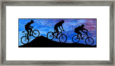 Mountain Bikers At Dusk Framed Print by Jenny Armitage