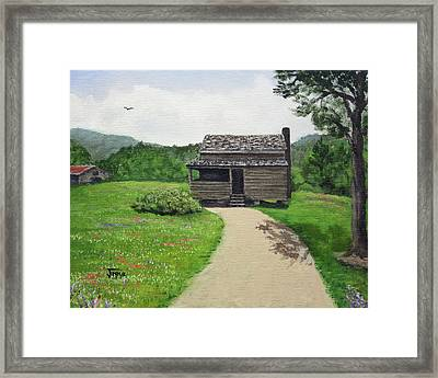 Framed Print featuring the painting Mountain Cabin by Jimmie Bartlett