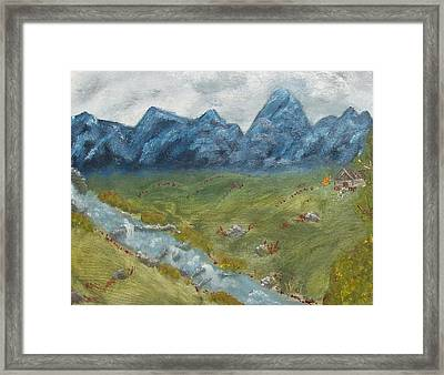 Mountain Cabin Framed Print by Leiah Mccormick
