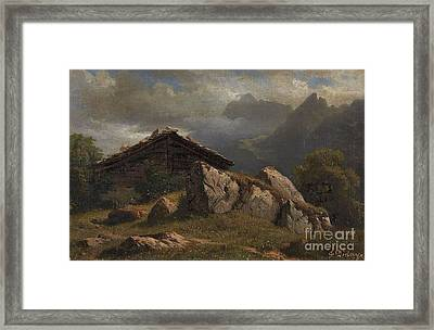Mountain Cabin Near Frenieres Framed Print