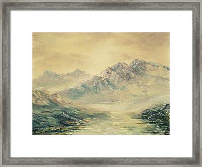 Framed Print featuring the painting Mountain High by Rebecca Kimbel