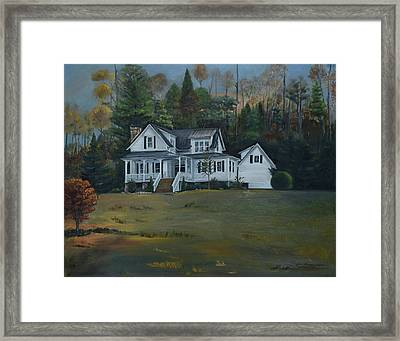 Framed Print featuring the painting  Mountain Home At Dusk by Jan Dappen