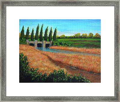 Mountain House In The Fall Framed Print