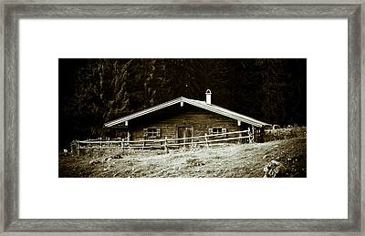 Mountain Hut Framed Print by Frank Tschakert