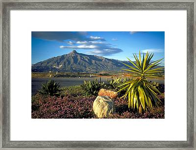 Mountain In Marbella Framed Print by Carl Purcell