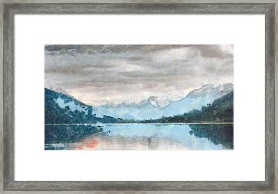 Mountain Lake Art Landscape Painting Framed Print by Wall Art Prints