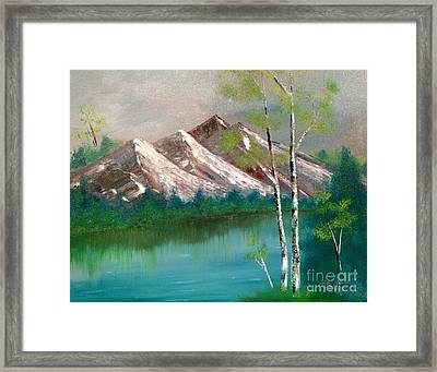Framed Print featuring the painting Mountain Lake by Denise Tomasura