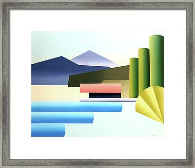 Mountain Lake Dock Abstract Acrylic Painting Framed Print