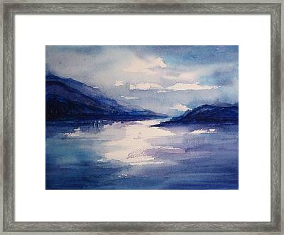 Mountain Lake In Blue Framed Print by Suzanne Krueger