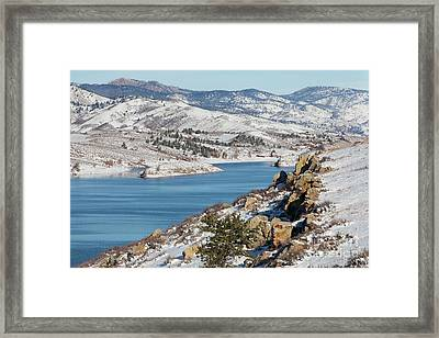 Mountain Lake In Winter Scenery Framed Print