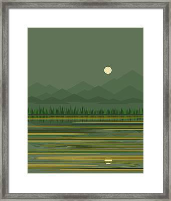 Framed Print featuring the digital art Mountain Lake Moon by Val Arie