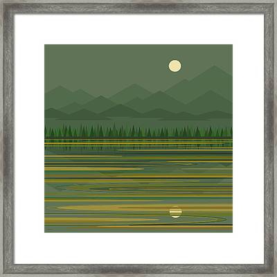 Framed Print featuring the digital art Mountain Lake Moonrise by Val Arie