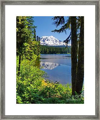 Mountain Lake Reflections Framed Print by Ansel Price