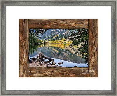 Mountain Lake Rustic Cabin Window View Framed Print