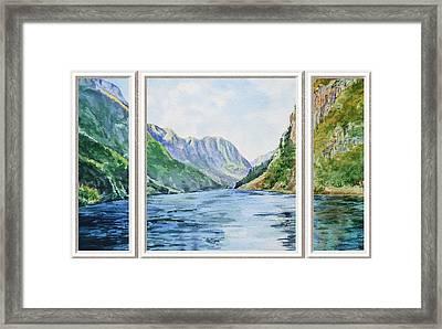 Mountain Lake View Window  Framed Print