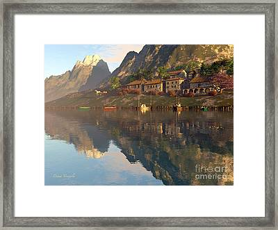 Mountain Lake Village Framed Print