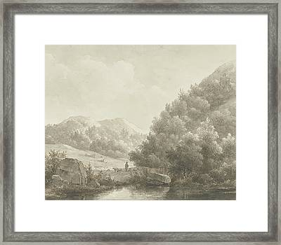 Mountain Landscape Framed Print by Andreas Schelfhout