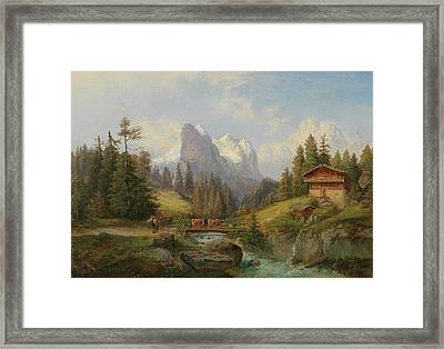 Mountain Landscape With A Herd Of Animals And Decorative Figures Framed Print by MotionAge Designs