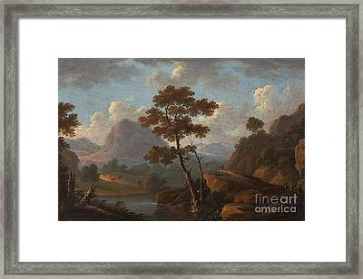 Mountain Landscape With A River Framed Print