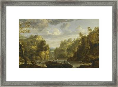 Mountain Landscape With A Waterfall And A Capriccio View Framed Print by Gillis Peeters