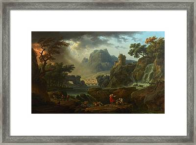 Mountain Landscape With An Approaching Storm Framed Print by Celestial Images