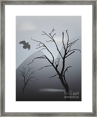 Mountain Landscape With Bird Framed Print by David Gordon