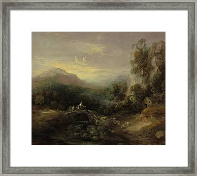 Mountain Landscape With Bridge Framed Print by Thomas Gainsborough