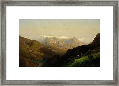 Mountain Landscape With Cattle Framed Print by Hermann Herzog