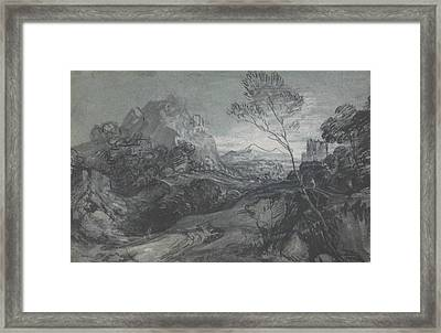 Mountain Landscape With Figures And Buildings Framed Print