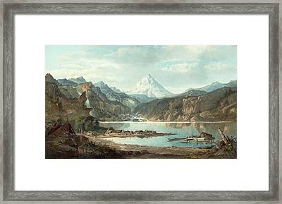 Mountain Landscape With Indians Framed Print
