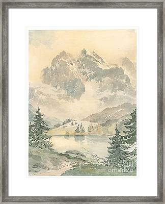 Mountain Landscape With Lake Framed Print by MotionAge Designs