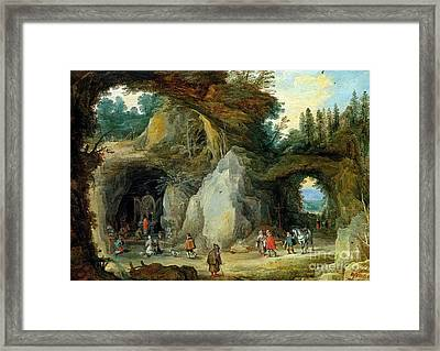 Mountain Landscape With Pilgrims At The Chapel Framed Print by MotionAge Designs