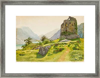 Mountain Landscape With Ruin Framed Print by Celestial Images