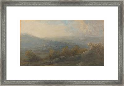 Mountain Landscape With Two Figures At The Right Framed Print by Alphonse Legros