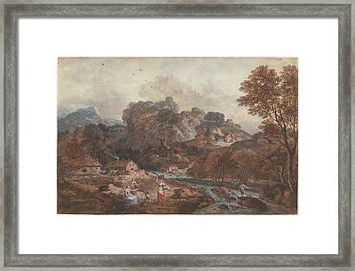 Mountain Landscape With Washerwomen And A Fisherman Framed Print