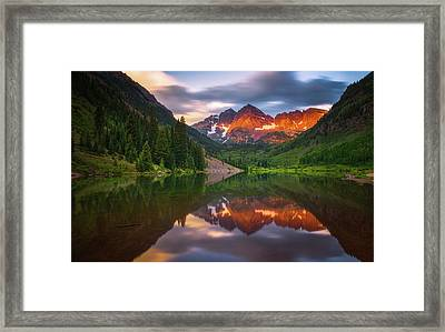 Framed Print featuring the photograph Mountain Light Sunrise by Darren White