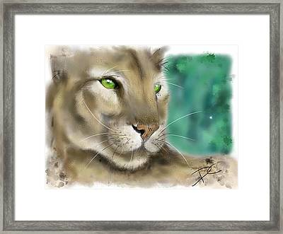 Framed Print featuring the digital art Mountain Lion by Darren Cannell