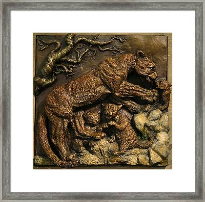 Framed Print featuring the sculpture Mountain Lion Mother With Cubs by Dawn Senior-Trask