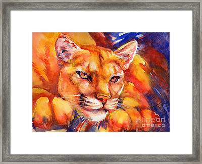 Mountain Lion Red-yellow-blue Framed Print by Summer Celeste