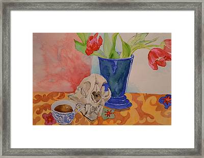 Framed Print featuring the painting Mountain Lion Skull Tea And Tulips by Beverley Harper Tinsley