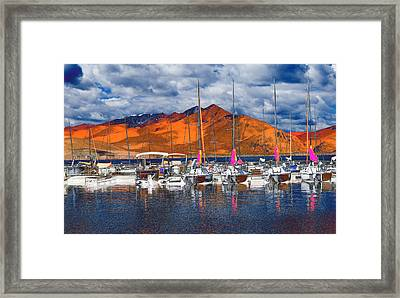 Mountain Marina Framed Print by Bette Levine