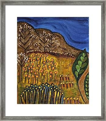 Mountain Meadow Abstract Framed Print by Maggis Art