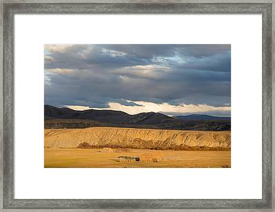 Mountain Meadow And Hay Bales In Grand County Framed Print by Carol M Highsmith