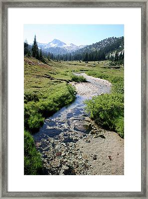 Mountain Meadow And Stream Framed Print