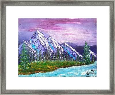 Mountain Meadow Landscape Scene Framed Print