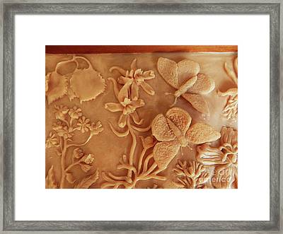 Mountain Meadow Original Clay Relief - Checkerspot Butterfly Detail Framed Print by Dawn Senior-Trask